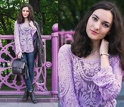 Katherine Adamenko - Sheinside Blouse - Purple Dreams