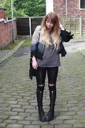 Grace Avery - Topshop Jacket, Nasty Gal Bag, Stylestalker Leggings, Topshop Boots - Ombre