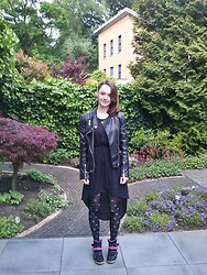 Iris K - H&M Black Dress, Famous Biker Jack, Claire's Ear Cuff, H&M Polka Dot Tights, Black Pink Wedges - Always dress like you're going to see your worst enemy.