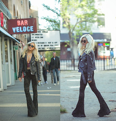 Rachel Lynch - Black Leather Jacket, Lip Service Bell Bottoms, Nasty Gal Red Crop Top, Warby Parker Sunglasses - J'en connais