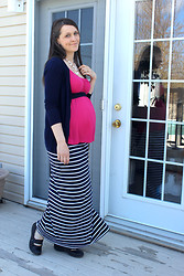 Julie Claveau - Fushia Empire Shirt, Forever 21 Navy Cardigan, Navy Hair Band Turned Belt, Clarks Comfortable Shoes, Jersey Striped Navy Maxi Skirt, Aldo White Chandelier Necklace - Mother's Day maternity style