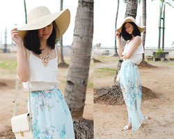 Julian Tanoto - Forever 21 Floppy Hat, Forever 21 Pastel Pink Statement Necklace, Cloth Inc White Camisole, Cloth Inc Pastel Floral Maxi Skirt, Sheinside White Bag - Spring Swing