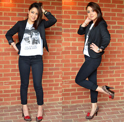 Clariza Jane - Bowties And Caviar Check Out The Blog Post For This Look!, H&M Single Button Blazer, H&M Cats & Dogs Tshirt, H&M Skinny Stretch Trousers, Michael Kors Dual Tone Watch, Steve Madden Leopard Print Pumps - 05142014 - Cats and Dogs