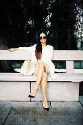 Savvy Javvy - Valentino Rockstud Black Pumps, Zara White Coat, Bcbg Lace Peplum Top, River Island Pencil Skirt, Burberry Aviator Sunglasses - Bad Bish Contest, You in First Place