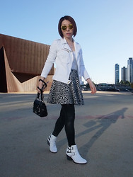 Shirley Z - Zara White Denim Jacket, Zara Black & White Skirt, Sportsgirl White Crop Boots - Oasis