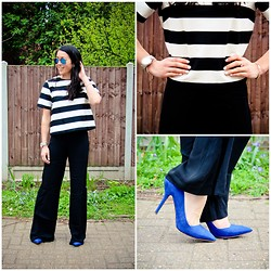 Bridg @ CalibratedChronicles.blogspot.com - Zara Blue Suede Pumps, Zara Palazzo Pants, H&M Striped Cropped Top, Ray Bans Blue Mirrored Aviators, Michael Kors Silver Watch - Loving The Blues