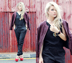 Anastasia Siantar - Black Jumpsuit, Red Wool Jacket, Steve Madden Red Dinaste - George town