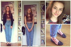 Amélia T. - Urban Outfitters Crop Top, Aldo Shoes, Thrifted High Waisted Jeans, Anklet - 100 - Iggy Azalea ft. WatchTheDuck