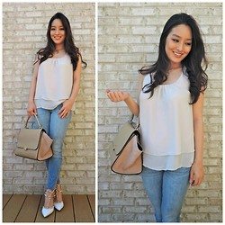 Kimberly Kong - Pretty And Chic Boutique Top, Loopsway Necklace, Chic Wish Chicwish Bag, Dittos Jeans, Oasap Heels - The Ruffled Chiffon Top