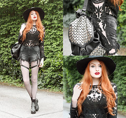 Olivia Emily - American Apparel Hat, Romwe Lace Top, Unif Shorts, Rebecca Minkoff Backpack, Romwe Boots (Old) - Nightvision.