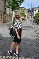 Charlotte Lewis - Reiss Leather Skirt, Nike Free Run 5.0+, Grafea Monochrome Leather Backpack - Breton Stripes and Nike Free Runs 5.0+