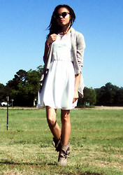 Shar E - Tan Open Cardigan, Whit Dress W/ Lace, Cowgirl Boots, Urban Outfitters Sunglasses - Otherness
