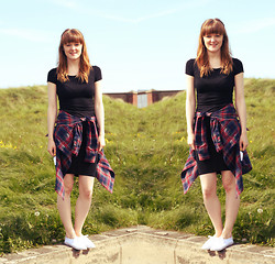 Beth Kennett - New Look Black Midi Dress, New Look Chequered Shirt, Primark White Plimmies - Just A Day At The Beach.