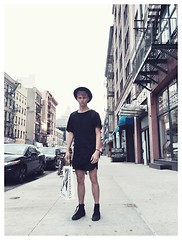 George Alvin - Dr. Martens High Top Shoes, Alexander Wang Shorts, Topman Black Layered Tops - Soho dayz