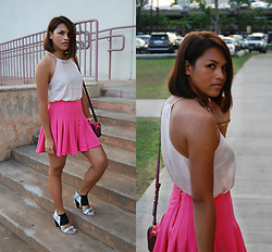 Desiree Atienza - Forever 21 Pastel Pink Top, H&M Pink Pleated Skirt, French Connection Uk Crossbody Bag, Vince Camuto Pastel Blue Sandals - Color me pink
