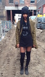 Michelle R - Unif Black Sweater, Burberry Coat, Timberland Boots - Construction