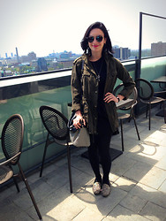 Raquel J - Christian Dior So Real Sunglasses, Talula Army Jacket, Steve Madden Studded Flats, Kate Spade Striped Bag - Rooftop