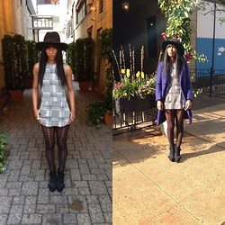 Michelle R - Zara Houndstooth Jumper, Burberry Coat, Urban Outfitters Houndstooth Stockings - Houndstooth