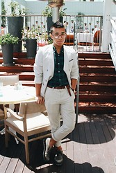 Mikey Anthony - 80spurple Optics, Giorgio Armani Seersucker Blazer, Club Monaco L/S Plaid Shirt, Club Monaco Leather Belt, American Apparel Pinstripe Pants, Prada Brouges - Brunch @ The Mondrian