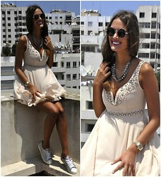 Amina Allam - Giant Vintage Round Sunnies, Romwe Statement Necklace, Tfnc Edvina Embellished Bustier Dress, Prada Studded Silver Sneakers - Bustier dress and studded sneakers