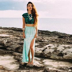 Jessica Wang - Stone Cold Fox Top, Stone Cold Fox Skirt, Necklace - Just another day in paradise where every hour is happy