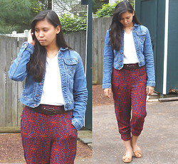 Allyson M - Tommy Hilfiger Denim Jacket, Urban Outfitters Harem Pants, H&M Loafers - Chill Day