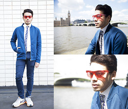 Ronan Summers - Burberry Wave Clear Sunglasses, Reiss Bomber Jacket, Burberry Tie, Nike Lunar Trainers - Retro Future Rouge