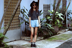 Vu Thien - Animals Wave Tmfi Tee, Blackfive Denim Shorts, Dr. Martens Shoes, Young Hungry Free Hat - TOO MANY FUKING IDIOTS
