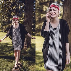 Destiny Millns - Monochromatic Dress, Sheer Black Cardigan, Lyl Apparell Red Leather Headband - Stripes and smiles