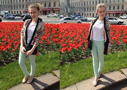 Aleksandra B. - Zara Floral Jacket, Miss Selfridge Mint Jeans - NEAR THE UNIVERSITY
