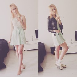 Rinka Essel - H&M Dress, Bershka Necklace, Ebay Stockings, Max Star Platforms - Mint rock