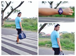 Michael Primacio - Giordano Plain Tee, Giordano Black Shorts, Casio G Shock, Lacoste Bowler Bag - On the Highway