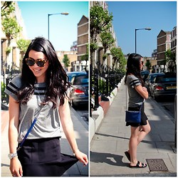 Bridg @ CalibratedChronicles.blogspot.com - Sandro Messenger Bag, Karen Walker Crazy Tortoise Sunglasses, Zara Grey Striped Tee, H&M Scalloped Skirt, Zara Leather Slides - London Days