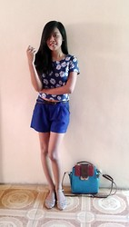 Ritzel Marri Dris - Floral Top, Royal Blue Shorts, Studded Flats, Sling Bag - Summer Blues