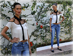 Amina Allam - Zealotries Cut Out Crop Top, Zara Destroy Jeans, Romwe Earrings, Alexander Mcqueen Patent Slippers - Cut-out crop top & destroy jeans