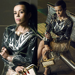 Priscila Diniz - Vinyl Skirt, Raincoat, Big Pearls Necklace, Clutch, Rings - Marry the night