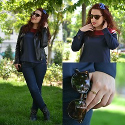 Kleoniki Tz. - Romwe Leather Jacket, H&M Sunglasses - A morning outfit