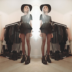 Bambi Borg - Topshop Black Sun Hat, Revolve Black Playsuit, Zana Bayne Black Leather Harness Fom, Lamoda Black Leather Heels - 140522