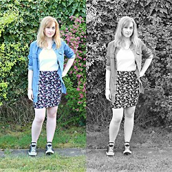 Amy Keeling - Peacocks Denim Shirt, New Look Skirt, Converse, New Look Necklace - A Little Bird Told Me...