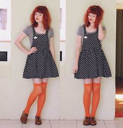 Annika Victoria - Diy Crop Top, Thrifed Skirt, Handmade Brooch, Naot Shoes - Oranges & Polka Dots