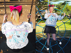 Emi B - Ebay Bow, Ebay Jumper, Asos Skirt, Ebay Sneakers - Unicorning Around