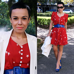 Priscila Diniz - Red Dress, White Blazer, Blue Belt, Circle Lens, Bue Peep   Similar, Sunglasses - Almost too sweet
