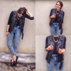 Mariam Argvliani - Topshop Old School Denim, Forever 21 Lather Jacket, Steve Madden Loafers, Zara Flower Necklace - Back to black <3