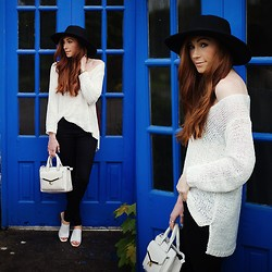 Erika Fox - White Mesh Sweater, Black Jeans, Fedora Hat - Do it with passion or not at all.