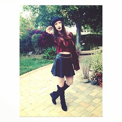 Jamie y Matt - Staring At Stars Bell Sleeve Velvet Crop Top, Forever 21 Faux Leather Skater Skirt, Franco Sarto Suede Wedge Boots, No Name Brand Bowler Hat, Mac Cyber Lipstick - Gypsy Goth