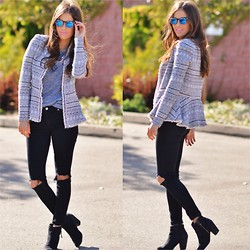 Paola Alberdi - Moddeals Sunglasses, Rebecca Taylor Tweed Chain Jacket, Madewell Grey Tshirt, Forever 21 Diy Destroyed Jeans, Nordstrom Bp Trolley Boots - Busted knees