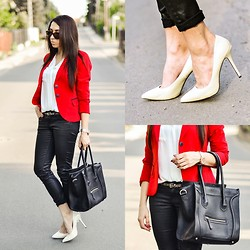 Pam S - Zara Pants, Sheinside Shirt - Red jacket