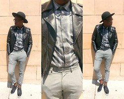 Ronald Gravesande - Dkny Grey Grid Plaid Shirt, Asos Black Leather Jacket, Asos Grey Trousers, Aldo Black Patent Leather Sneakers, Urban Outfitters Black Hat - Don't Cross the Grey Line