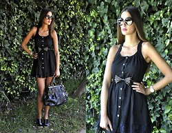 Amina Allam - Giant Vintage Sunnies, Romwe Lace Back Dress, Zara Belt, Dkny Bag, Zara Wedges - Little black lace back Romwe dress