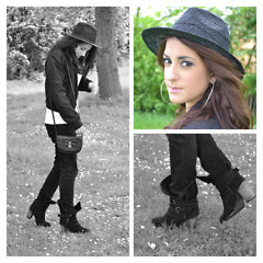 Layla D - H&M Hat, Lime Jacket, H&M Jeans, Dorothy Perkins Boots, New Look Cross Body Bag - Black and White - Casual Style